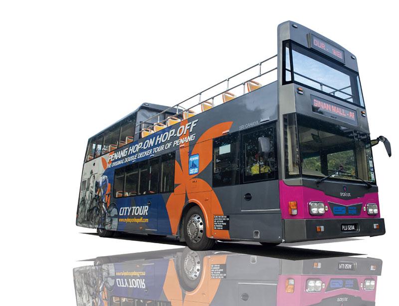 The double decker tour bus